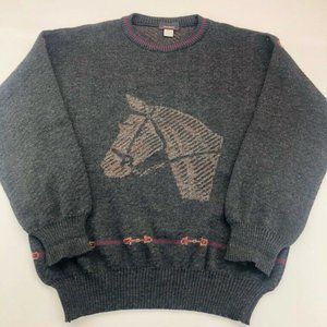 Mark Shale Mens Pullover Sweater Gray Marled Horse